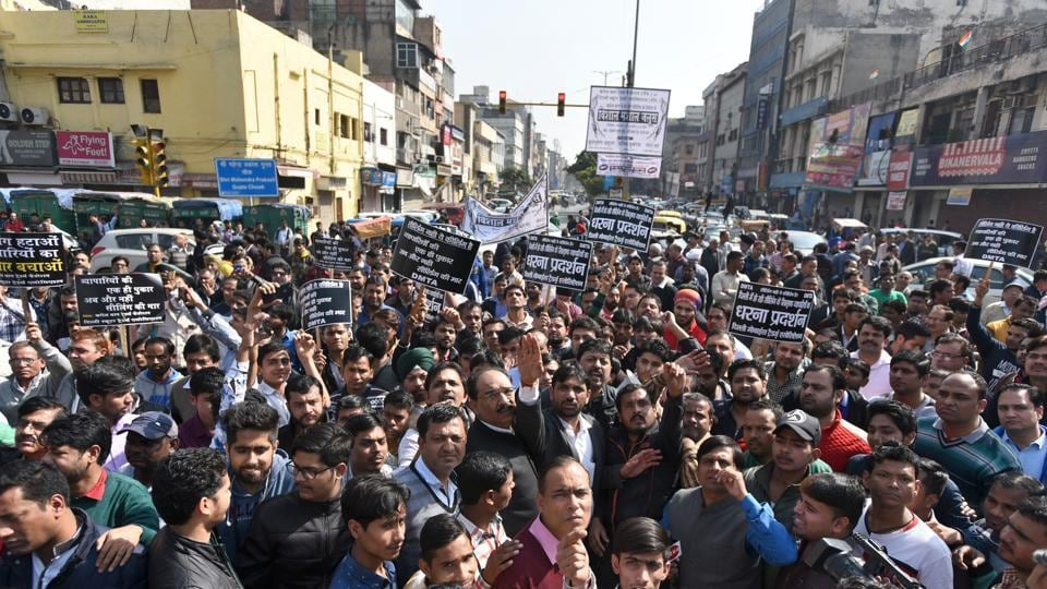 Traders protest against the sealing drive by the Municipal Corporation of Delhi (MCD) at Karol Bagh in New Delhi on February 2.
