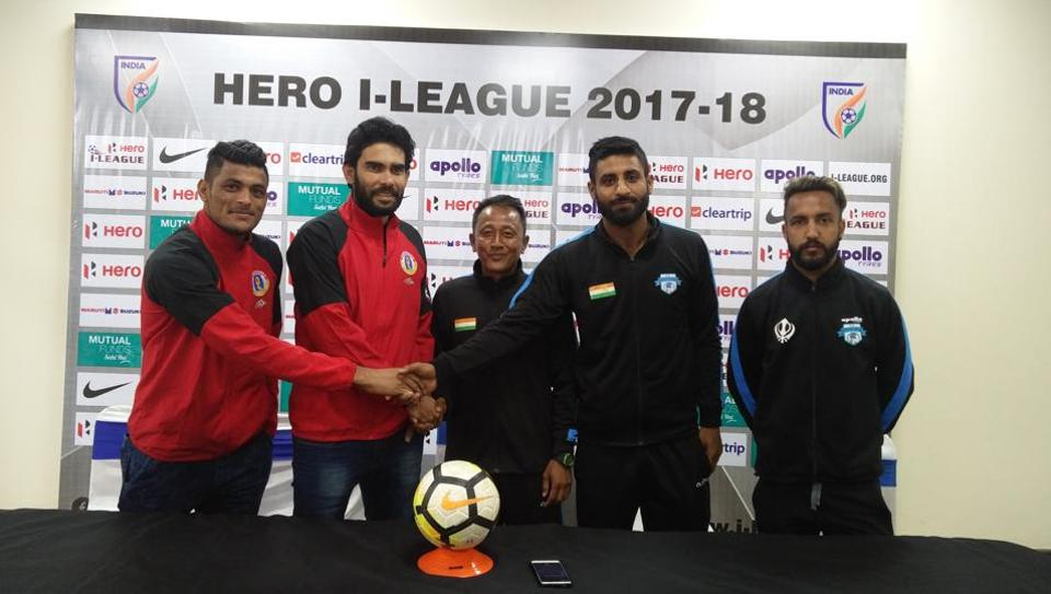 Minerva Punjab and East Bengal coaches and players during the pre-match press conference ahead of their I-League clash in Panchkula on Monday.