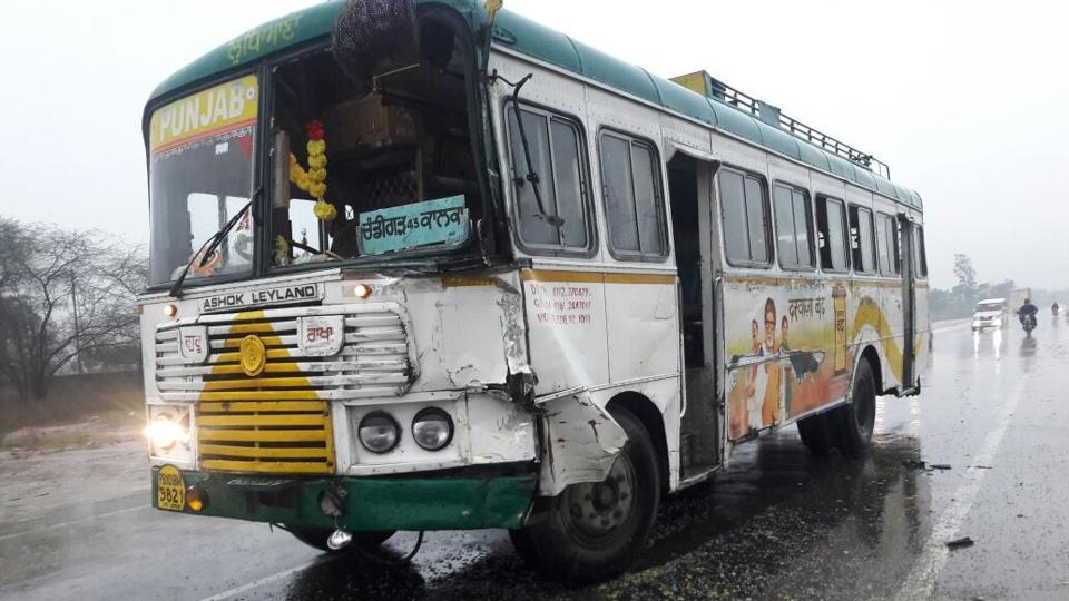 The Punjab Roadways bus rammed into the school bus on the Kharar-Morinda road on Monday.