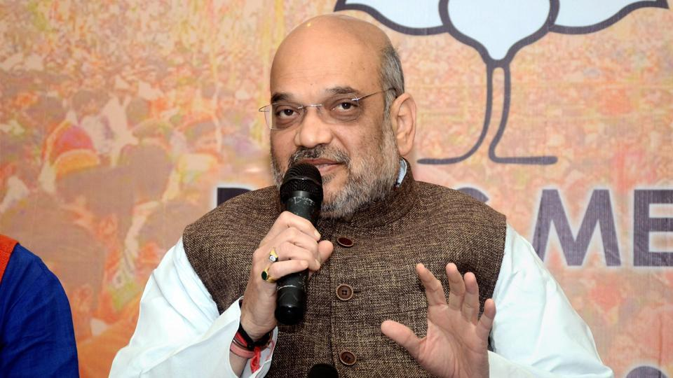 BJP National President Amit Shah addresses the media in Agartala on Monday.