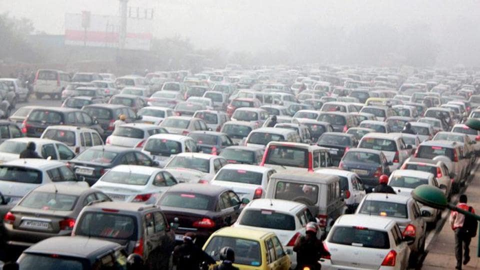 Vehicles stuck in a traffic jam at  near Gurgaon.
