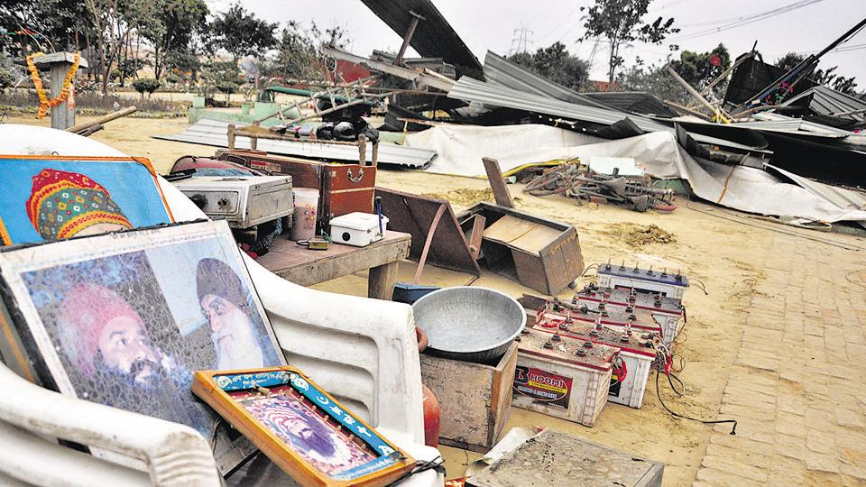 The Ghaziabad development authority demolished permanent constructions on Hindon flood plains near Karhera, on Monday. Those demolished include ashram of Dera chief Gurmeet Ram Rahim Singh in Ghaziabad.