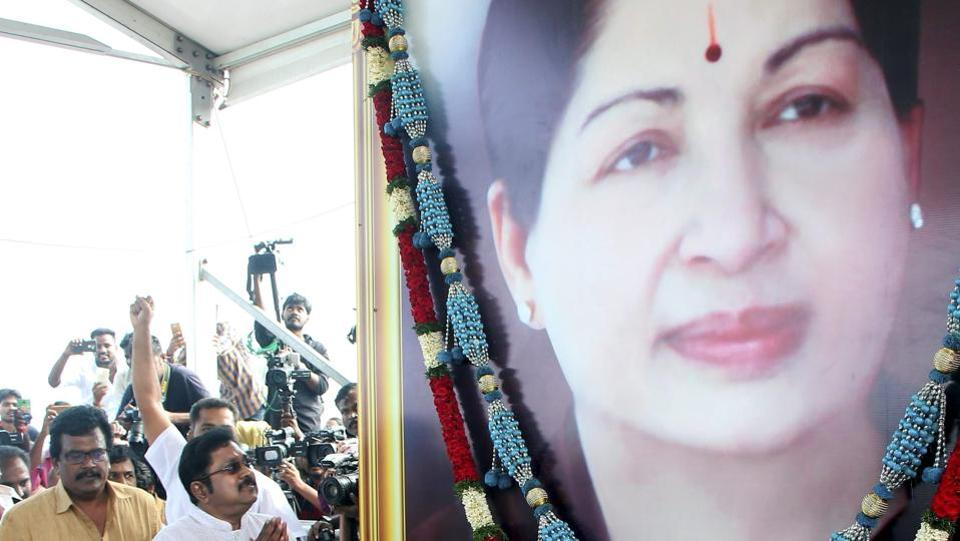 A seven foot tall portrait of former Tamil Nadu chief minister J Jayalalithaa in her trademark green sari was unveiled today. Opposition parties in Tamil Nadu stayed away from the unveiling ceremony in the assembly, saying the honour should not be extended to a person convicted of corruption. (PTI File Photo)