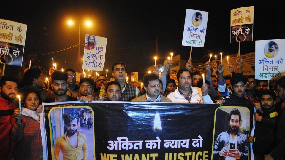 A candle light march to protest the murder of Ankit Saxena, Delhi, February 5