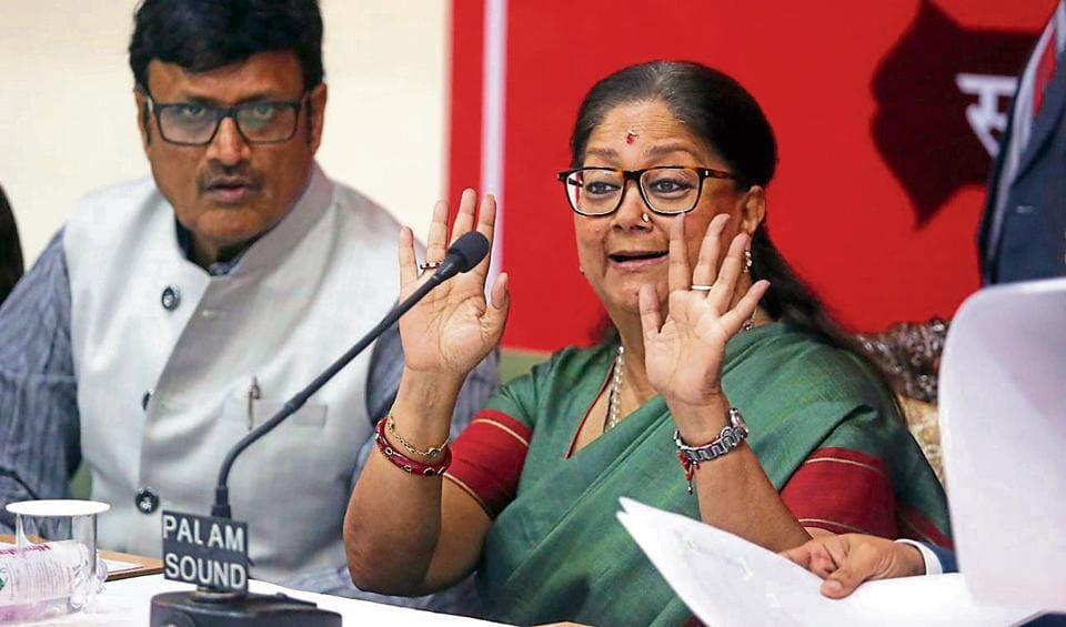 Rajasthan chief minister Vasundhara Raje interacts with mediapersons after presenting the state budget 2018-19 in the assembly in Jaipur on Monday.