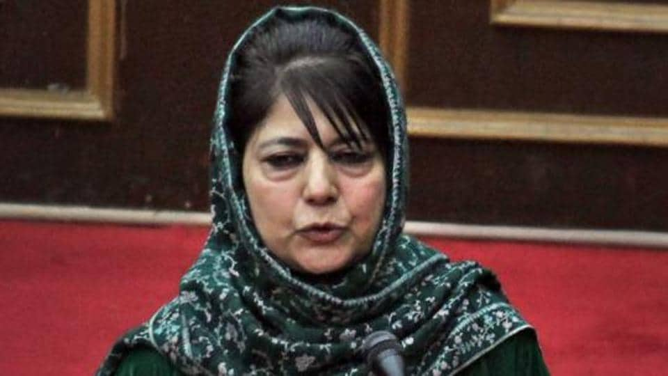 Jammu and Kashmir Chief Minister Mehbooba Mufti speaks in the legislative council during the budget of the state Assembly, in Jammu on Friday.