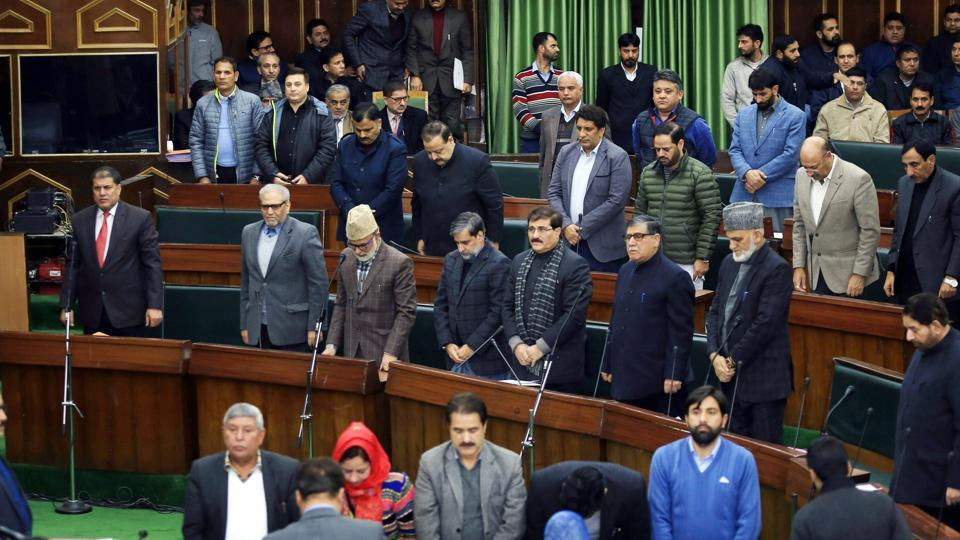 MLAs observe silence to pay tributes to the Army soldiers killed in a terrorist attack at Sunjuwan army camp, in Jammu , on Monday.
