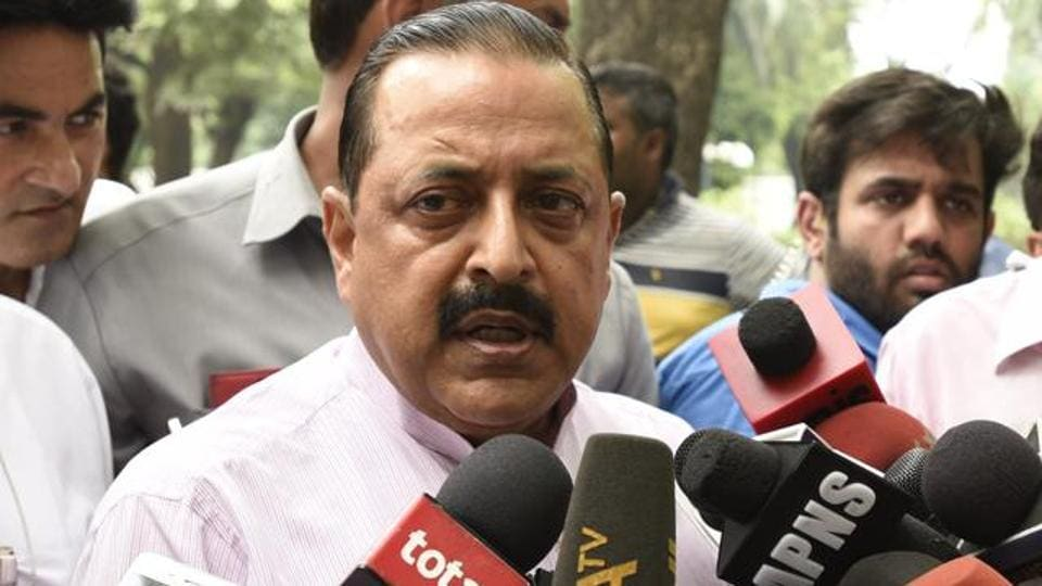 Jitendra Singh, MOS for the Ministry of Development of North Eastern Region, Prime Minister Office talk with media person after the high level meeting on Kashmir issue with a Prime Minister at 7RCR, in New Delhi, India.