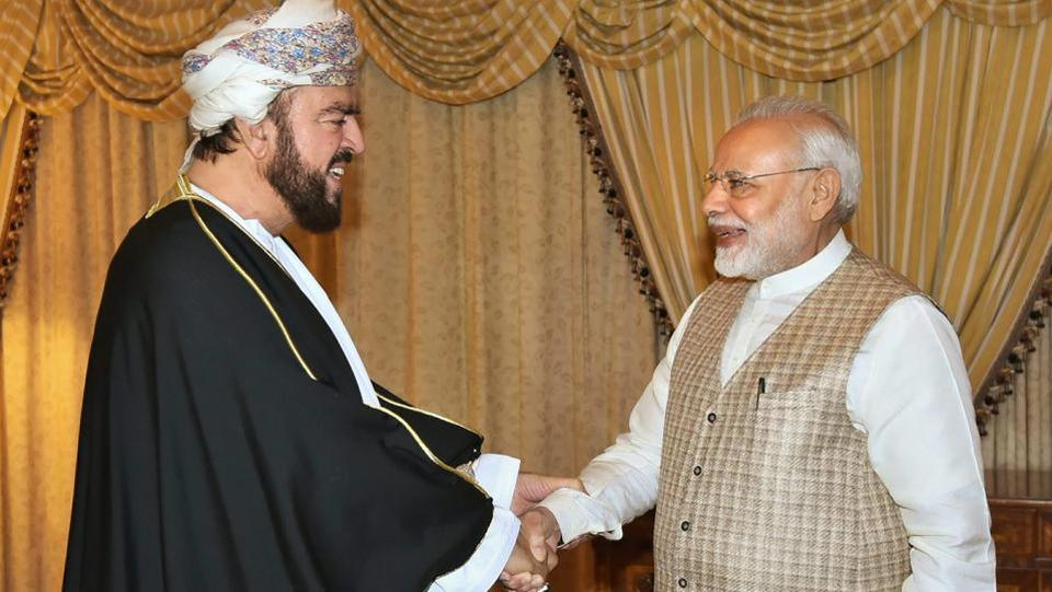 "PM Narendra Modi (R) greets Deputy Prime Minister of Oman, Sayyid Asa'ad bin Tariq Al Said in Muscat, Oman. Modi said, his visit to Oman and talks with the oil-rich Gulf nation's top leadership will impart a ""substantial momentum"" to all spheres of bilateral ties. (PTI / PIB)"