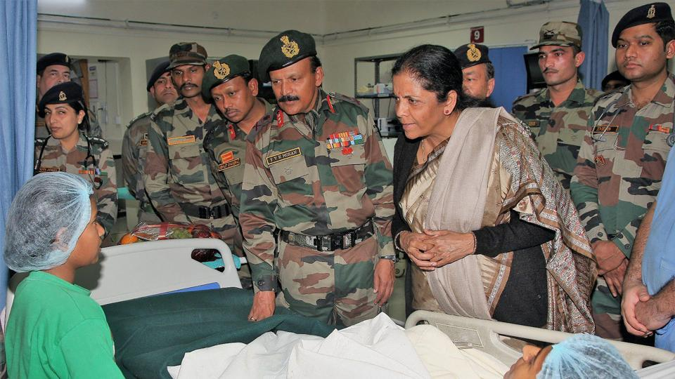 Defence minister Nirmala Sitharaman met the injured victims of the militant attack at Sunjuwan army camp, in the military hospital in Jammu on Monday.