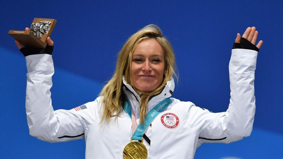 USA's gold medallist Jamie Anderson poses on the podium during the medal ceremony for the women's snowboard slopestyle at the Pyeongchang Medals Plaza during the Pyeongchang 2018 Winter Olympic Games in Pyeongchang on Monday. (AFP)