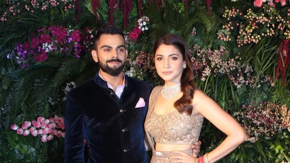Virat Kohli and Anushka Sharma during their wedding reception in Mumbai on Dec 26, 2017.