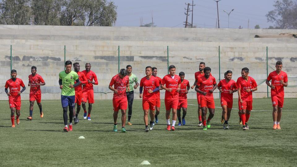Churchill Brothers players practice ahead of their I-League clash against Neroca FC.