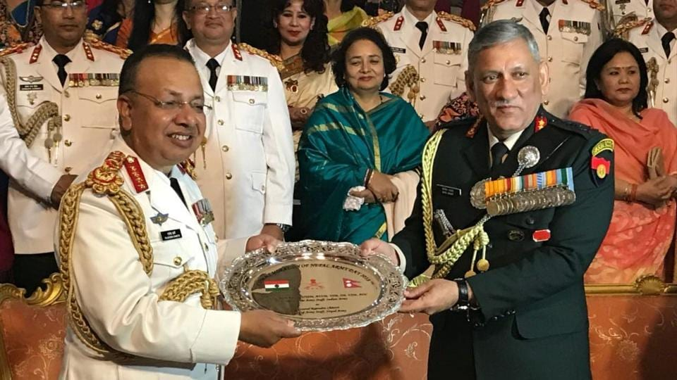 General Bipin Rawat presents a memento to General Rajendra Chhetri, Chief of the Army Staff Nepal Army, on the occasion of Nepal Army Day 2018 on Tuesday, February 13, 2018.