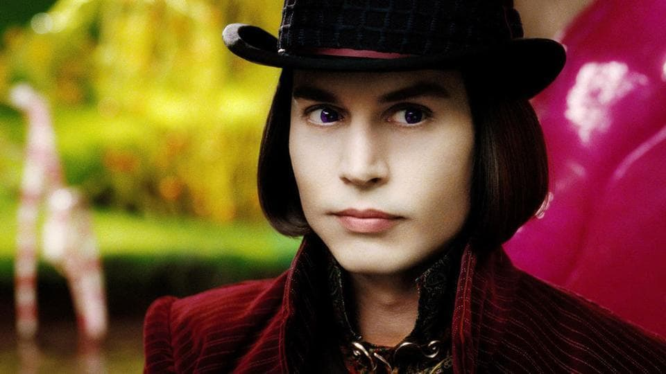 Johnny Depp in a still from Tim Burton's Charlie and the Chocolate Factory.