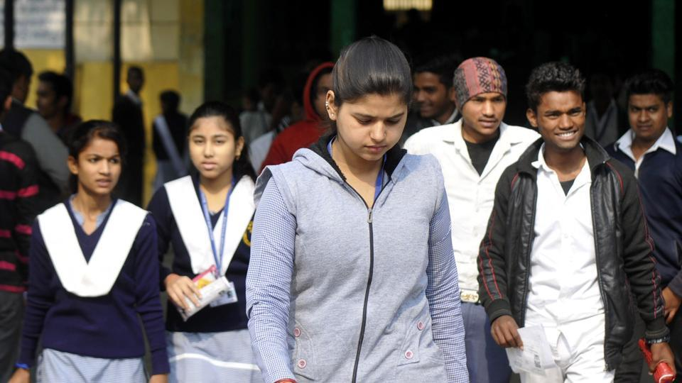 Students coming out after appearing in the UP board exams 2018 at a Centre in Noida  on Tuesday.