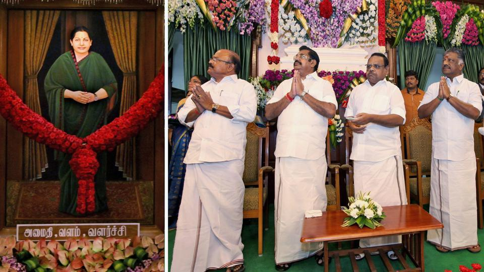 AIADMK leaders during the unveiling of a portrait of late AIADMK chief and former CM J Jayalalithaa, Fort St George, Chennai, February 12