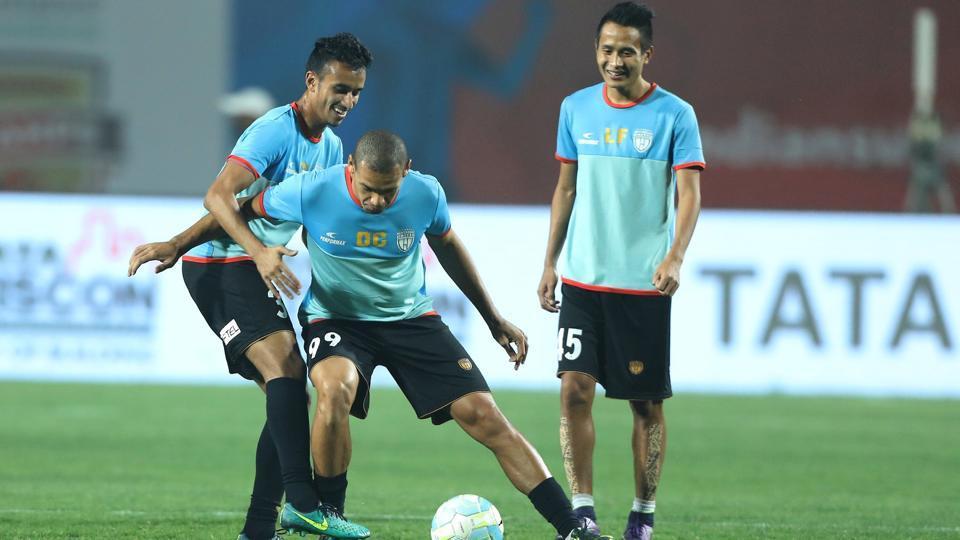 NorthEast United FCplayers train ahead of their Indian Super League clash against Delhi Dynamos FCin Guwahati on Wednesday.