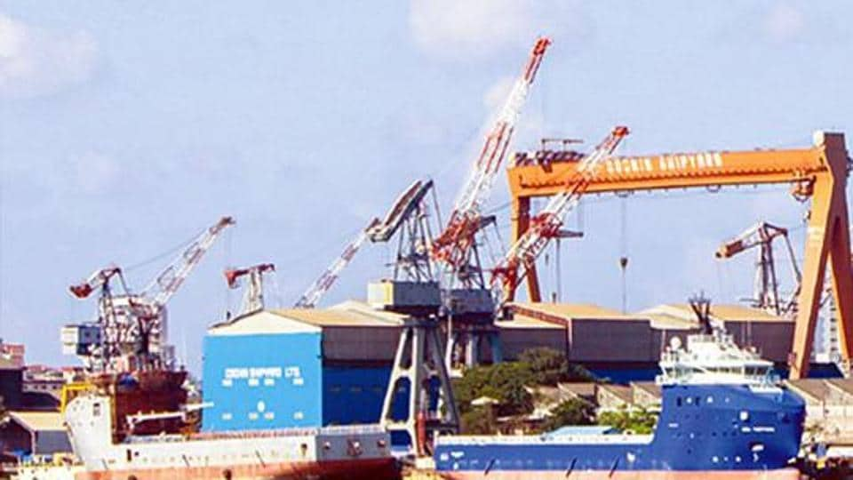 Cochin Shipyard in Kerala is engaged in shipbuilding and repairs the largest vessels in India, including those of the oil exploration companies, the Indian Navy, the Coast Guard, and merchant ships of the ONGC.