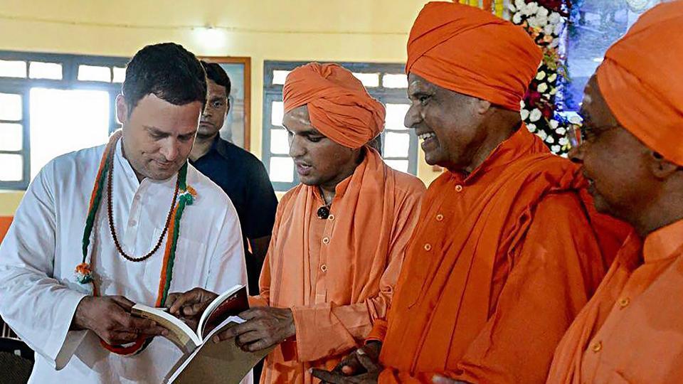 Congress president Rahul Gandhi interacts with the saints at Anubhava Mantapa in Basavakalyan ahead of Karnataka Assembly elections on Tuesday.