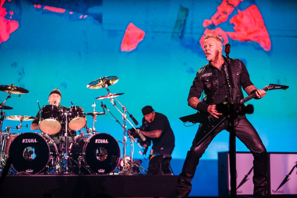Lars Ulrich and James Hetfield of the band Metallica perform at Autodromo de Interlagos in Sao Paulo, Brazil, on March 25, 2017.