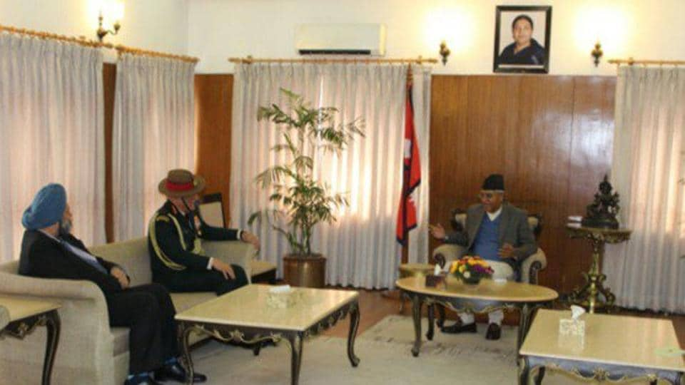 Army chief General Bipin Rawat interacting with Nepal Prime Minister Sher Bahadur Deuba in Kathmandu on Wednesday.