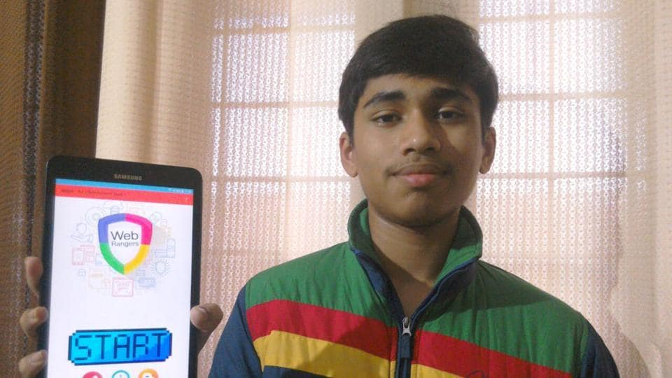 Fourteen-year-old Noida Mrigank Pawagi with his android gaming app Webme. He was one of the three winners of Google India's Web Rangers contest.