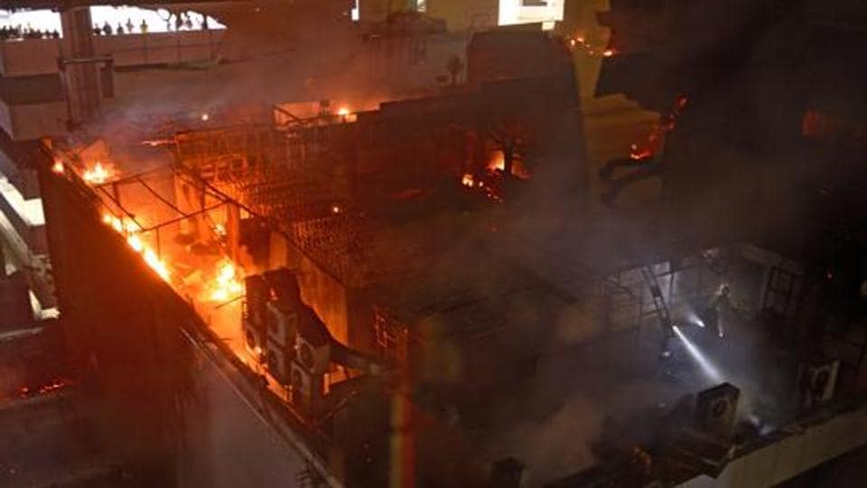 Massive fire at restaurant in Kamala Mill Compound, Lower Parel in Mumbai, India.