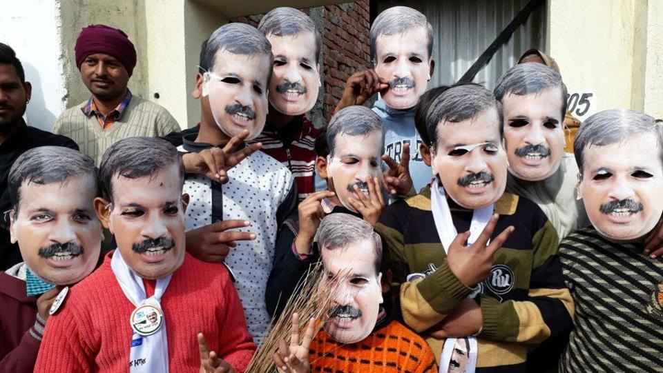 Children in Kejriwal masks at a rally near Amritsar. Sisodia said they had looked at infrastructure in their first year, teacher training in their second, and in the third year, focus would be on creative learning methods. In its 2017-18 budget Rs 11,300 crore was allocated to the education sector. This emphasis on education drew praise, but the streamlining of students into groups based on academic performance has been a miss. (Gurpreet Singh / HT Archive)