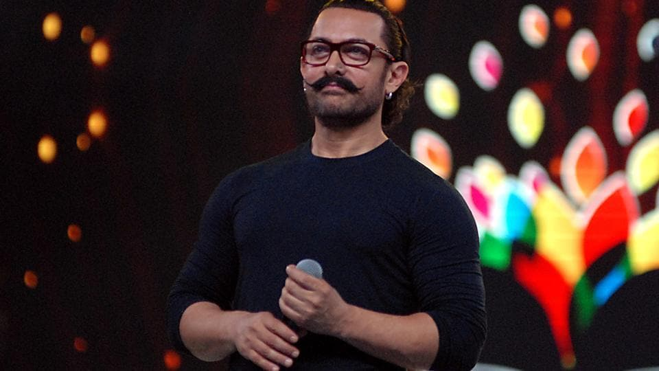 Indian Bollywood actor Aamir Khan takes part in the'Umang Mumbai Police Show 2018' in Mumbai.