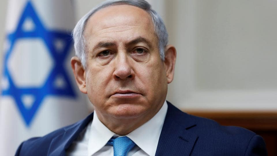 Israeli Prime Minister Benjamin Netanyahu attends the weekly cabinet meeting at the Prime Minister's office in Jerusalem.