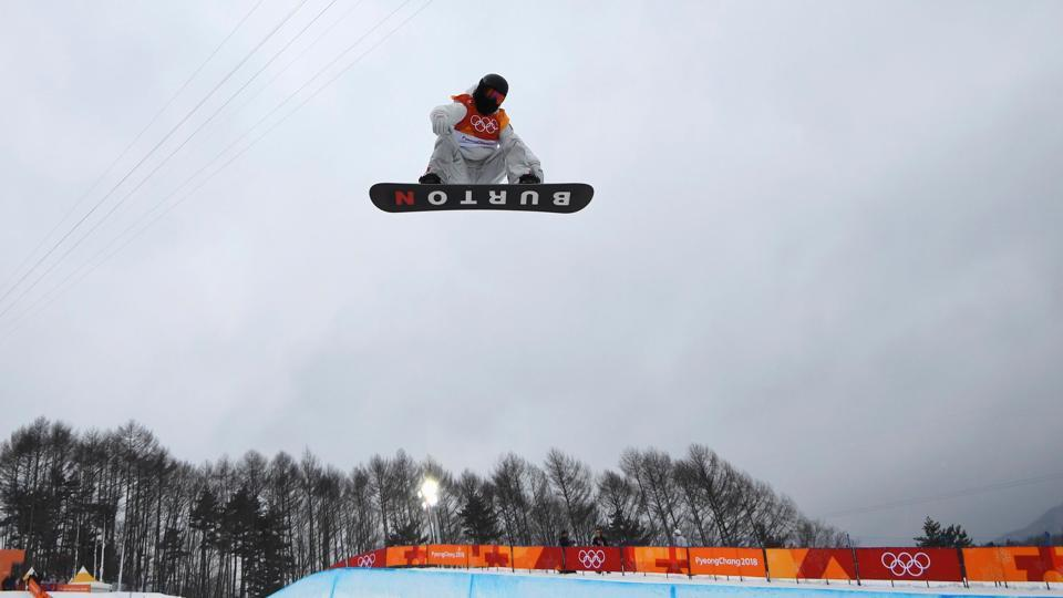 US' Shaun White en route to winning his third Olympic halfpipe title at the 2018 Winter Olympics. (REUTERS)