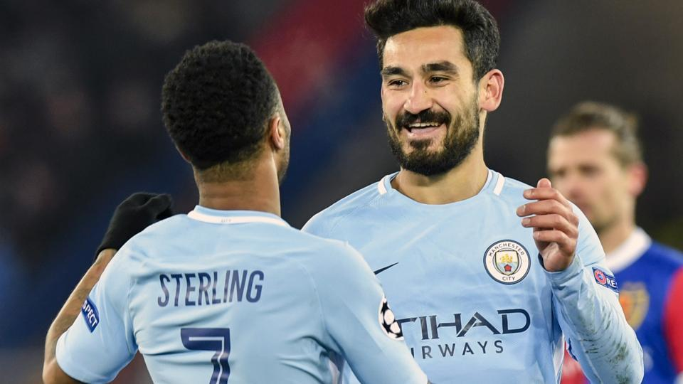 Manchester City's Ilkay Gundogan celebrates after scoring against FC Basel in their UEFA Champions League encounter.