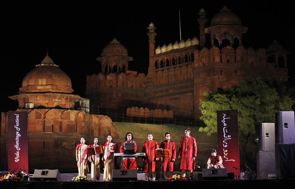 A file photo of a group performing during the Urdu Heritage Festival at the Red Fort grounds.