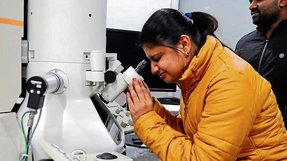 A student performing an experiment at the Institute of Nano Science and Technology, Sector 64, Mohali.