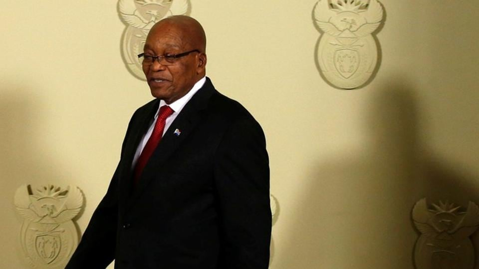 Jacob Zuma arrives to speak at the Union Buildings in Pretoria, South Africa.