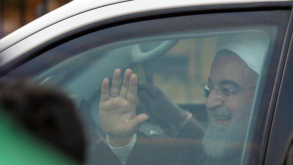 Iranian President Rouhani arrives in Hyderabad on 3 day visit to India