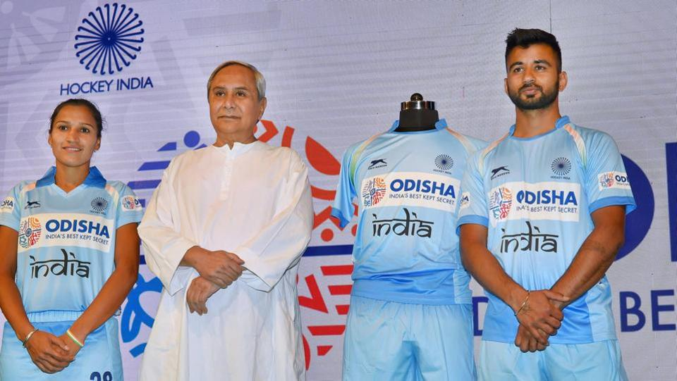 Odisha Chief Minister Naveen Patnaik with the skippers of the Indian men's and women's hockey teams, Rani Rampal and Manpreet Singh, at a function in New Delhi on Thursday.  The Odisha government has announced that it will sponsor the Indian hockey teams -- both men and women -- for the next five years, in a first for any Indian state. (PTI)