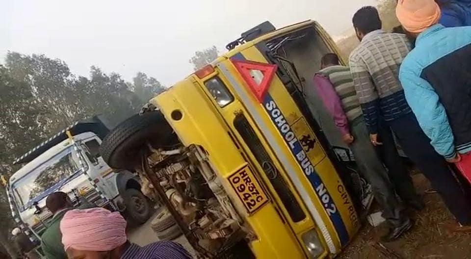 School bus,road mishap,haryana