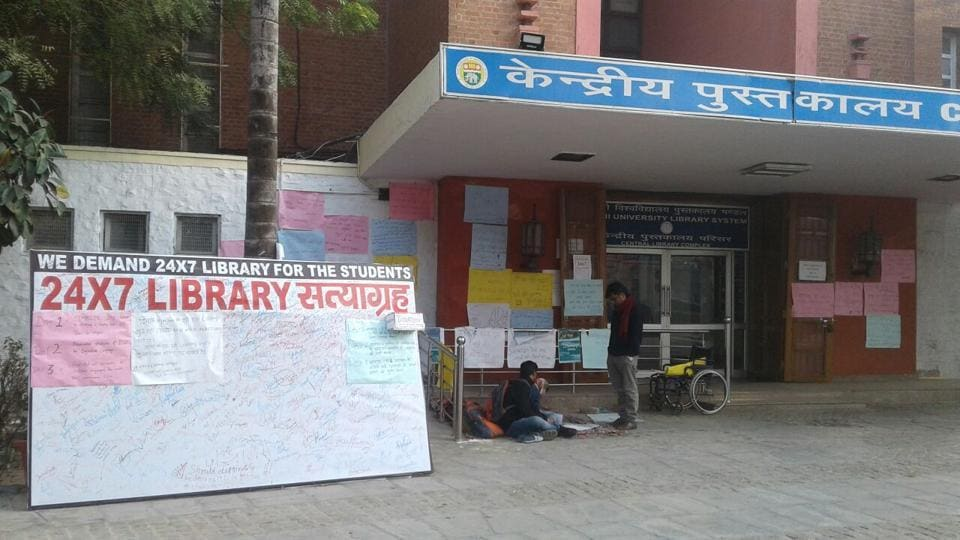 Delhi University,Central Library,Protest