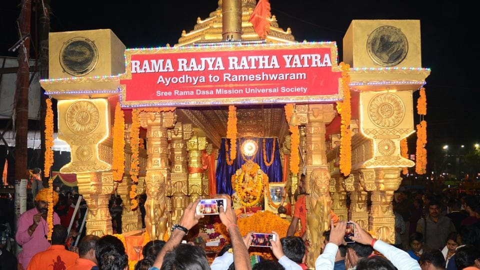 Ram rajya rath yatra temple in ayodhya ram rajya in india by 2019 people clicking photographs after teh rath yatra reached allahabad on thursday thecheapjerseys Choice Image