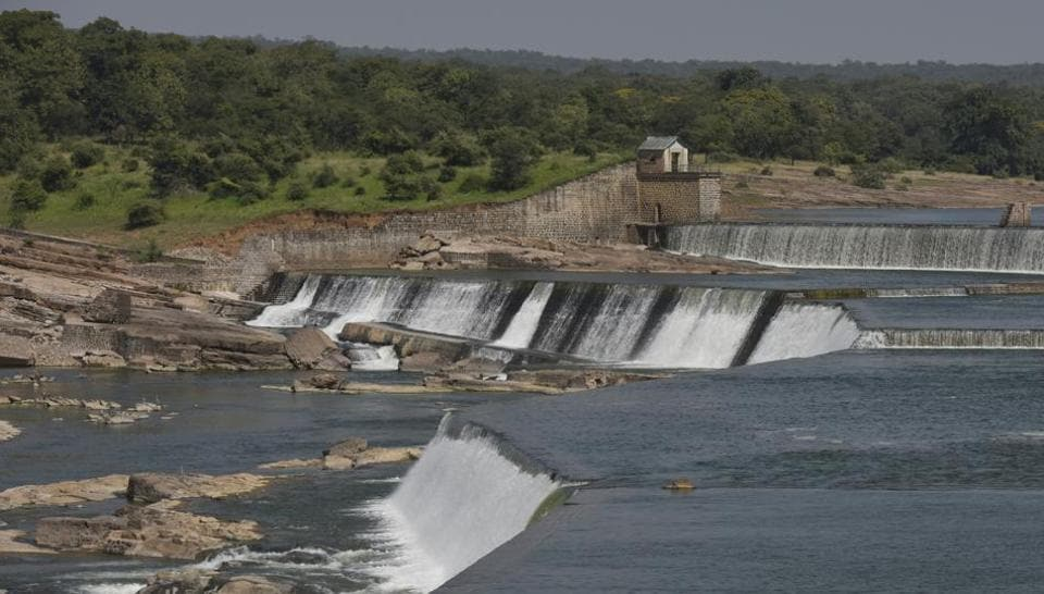 Gangau dam and reservoir on Ken river in Panna National Park in Madhya Pradesh.
