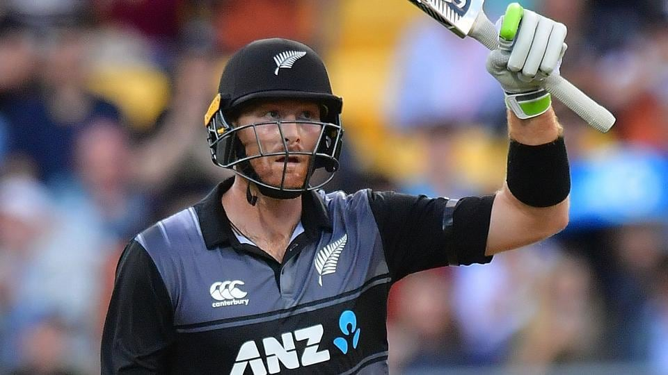 Martin Guptill celebrates his century during the T20 encounter between New Zealand and Australia on Friday.