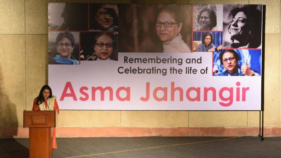 Lawyer Mariam Faruqui pays tribute to Asma Jahangir at an event in remembrance and celebration of her life at India Habitat Centre on February 15, 2018. Asma Jilani Jahangir (1952-2018), among the most prominent names from the peace movement in South Asia, passed away on February 11, in Lahore, Pakistan. (Raj K Raj / HTPhoto)