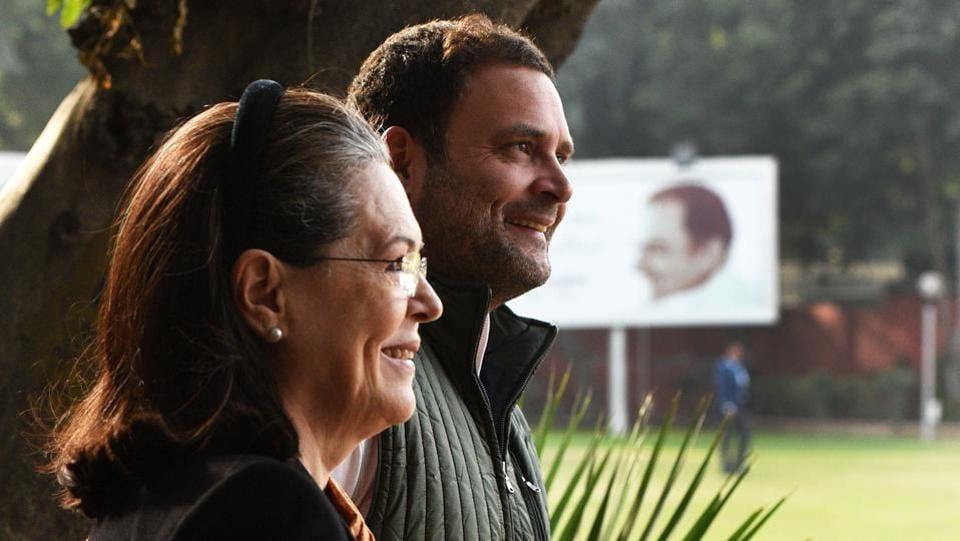 Congress President Rahul Gandhi with former Congress President Sonia Gandhi arrive to preside over the Congress Steering Committee Meeting at AICC in New Delhi.
