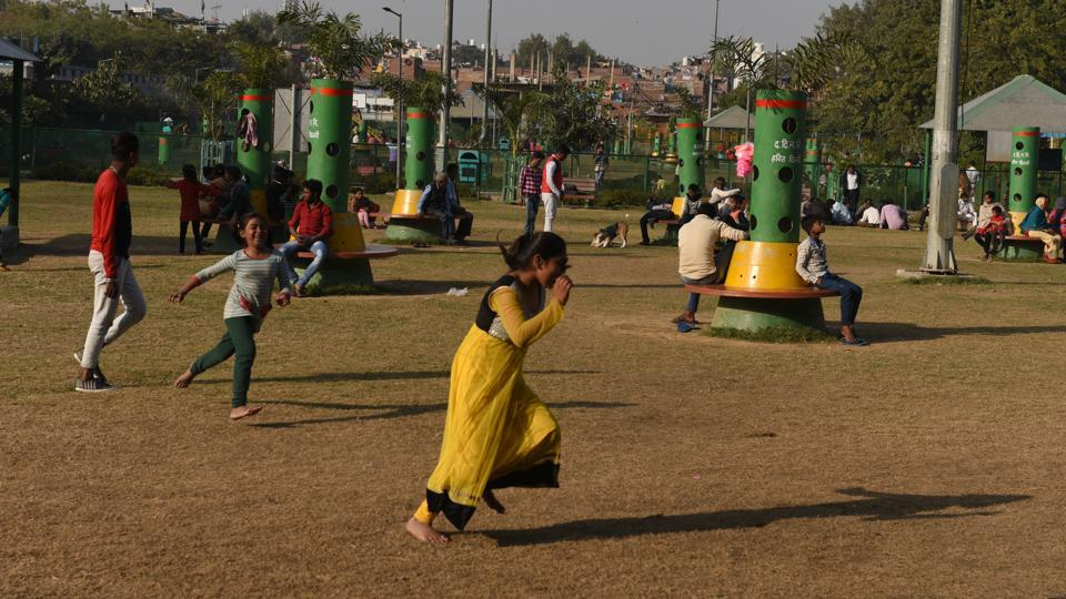 Children play at the Govindpuri Park in New Delhi. The SDMC trimmed the hedges at the park for a clear view inside and installed open gyms, play areas for children and gazebos to increase footfall.