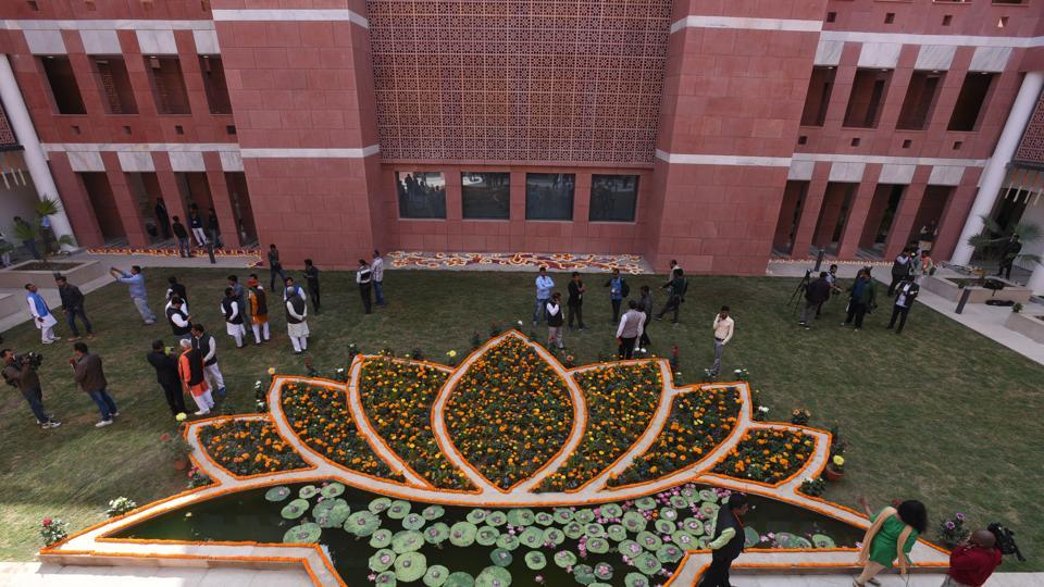 A view of newly inaugurated office of BJP Headquarter at  Deen Dayal Upadhyay Marg, in New Delhi. (Sonu Mehta / HT Photo)