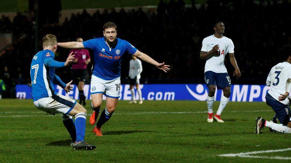 Rochdale's Steven Davies celebrates scoring their second goal against Tottenham Hotspur in a FA Cup fifth round match.