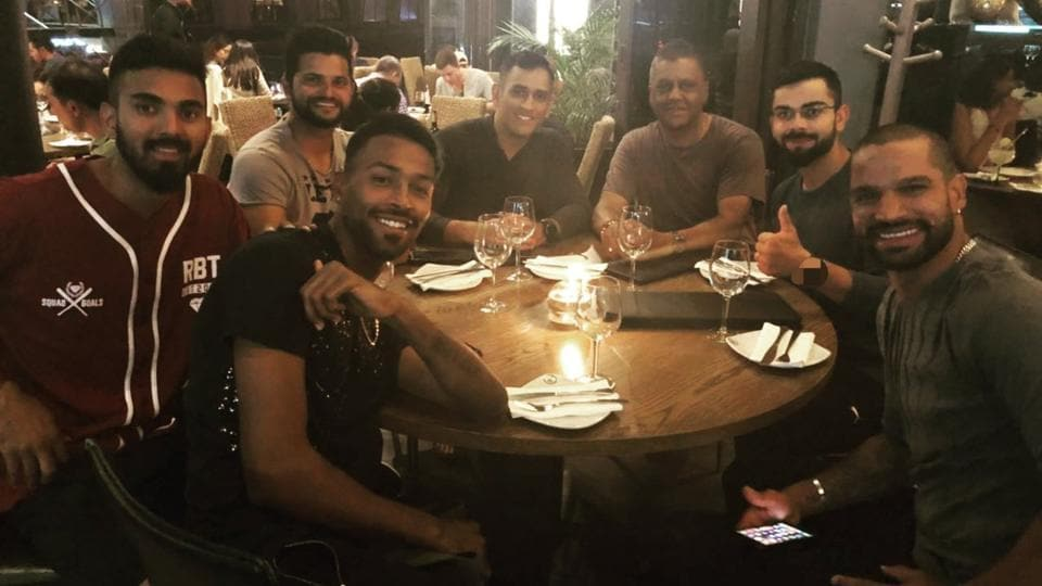 Virat Kohli went out for dinner with his teammates to celebrate India's win over South Africa in the first T20 in Johannesburg on Sunday.