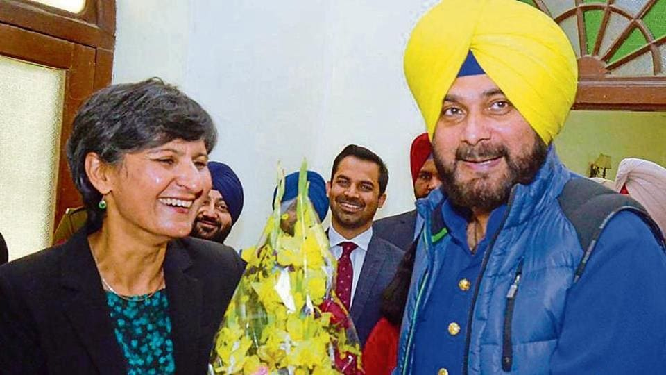 Australian high commissioner to India Harinder Sidhu being welcomed by Punjab local bodies minister Navjot Singh Sidhu before a press conference in Amritsar on Sunday.